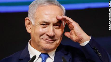 Netanyahu at his Likud Party headquarters in Tel Aviv on election night, April 10, 2019.
