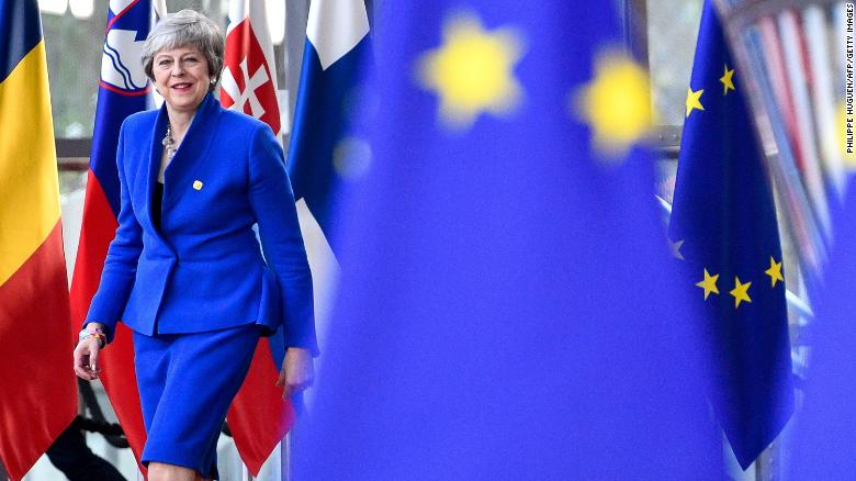 Britain's Prime Minister Theresa May arriving ahead of a European Council meeting on Brexit at The European Parliament in Brussels.