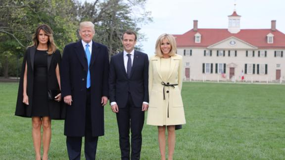 (L-R) US first lady Melania Trump, husband US President Donald Trump, French President Emmanuel Macron and his wife first lady Brigitte Macron arrive at Mount Vernon, the estate of the first US President George Washington, in Mount Vernon, Virginia, April 23, 2018. (Photo by Ludovic MARIN / AFP)        (Photo credit should read LUDOVIC MARIN/AFP/Getty Images)