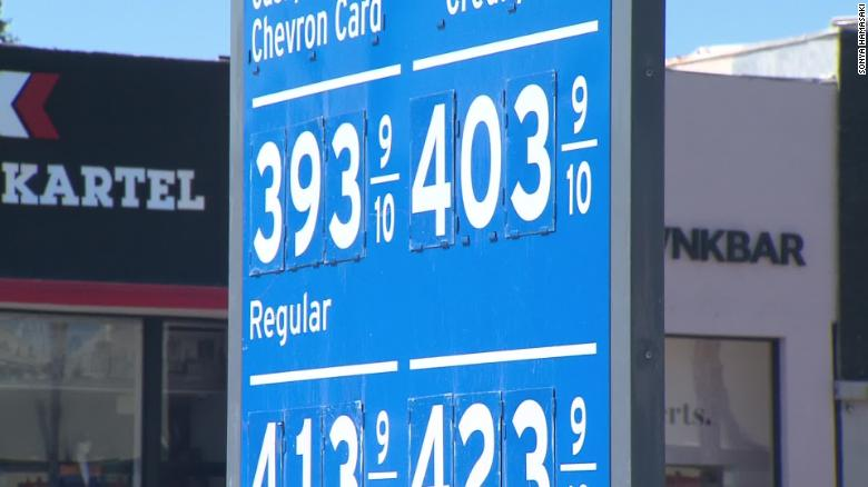Gas Prices In California >> California Gas Prices Reach Almost 4 A Gallon Cnn
