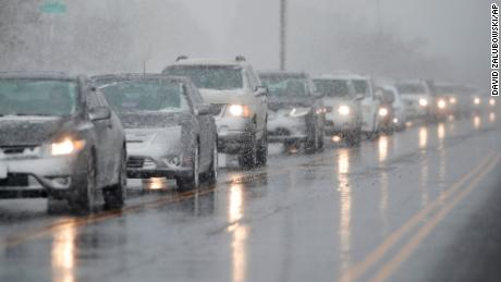 Traffic backs up Wednesday in Denver.