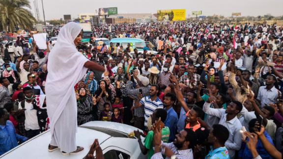 Salah, the woman propelled to internet fame after clips of her leading protest chants went viral, addresses protesters on April 10.