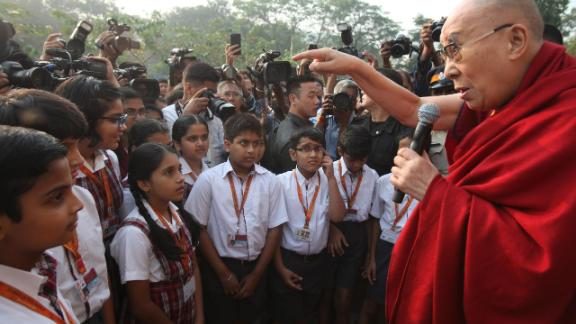 The Dalai Lama speaks to students in Mumbai, India, in December 2017.