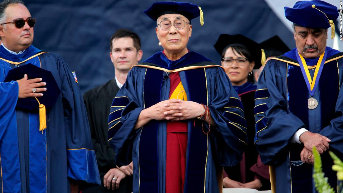 The Dalai Lama attends graduation ceremonies at the University of California-San Diego, where he delivered the commencement address in June 2017.