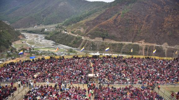 Buddhist followers gather to hear the Dalai Lama in Dirang, India, in April 2017.