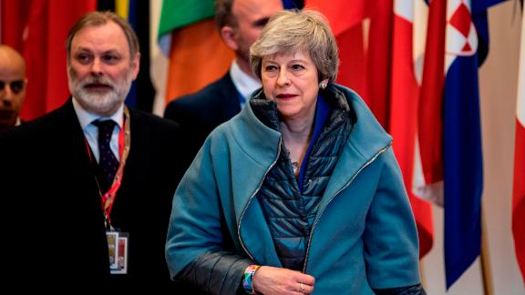 British Prime Minister Theresa May leaves a European Council meeting on Brexit at The Europa Building at The European Parliament in Brussels on April 11, 2019. - European leaders agreed with Britain on Thursday to delay Brexit by up to six months, saving the continent from what could have been a chaotic no-deal departure at the end of the week. The deal struck during late night talks in Brussels means that if London remains in the EU after May 22, British voters will have to take part in European elections. (Photo by KENZO TRIBOUILLARD / AFP)        (Photo credit should read KENZO TRIBOUILLARD/AFP/Getty Images)