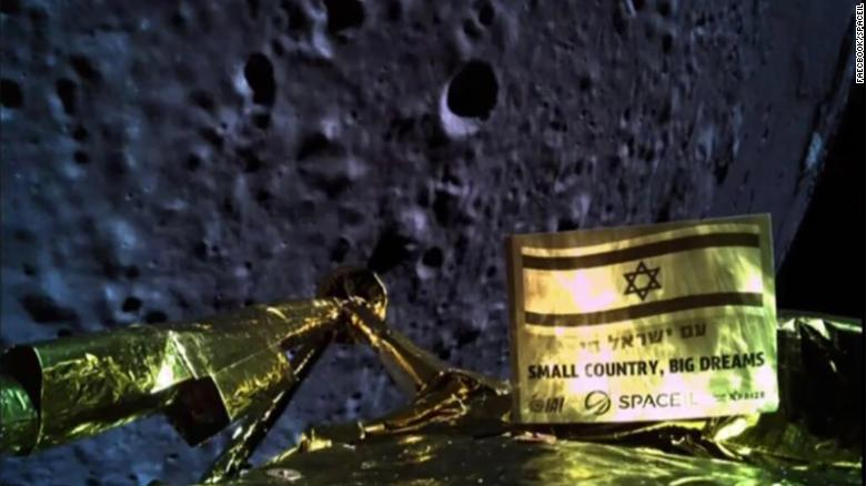 An image shows the Beresheet spacecraft before it crashed in the moon's surface.
