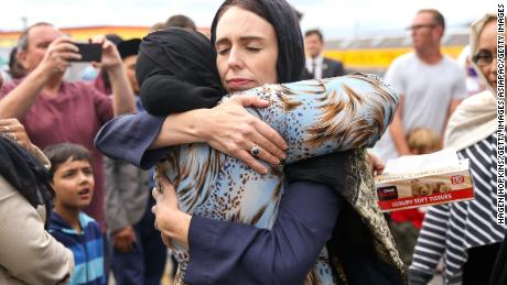 Prime Minister Jacinda Ardern hugs a mosque-goer on March 17, 2019 in Wellington, New Zealand.