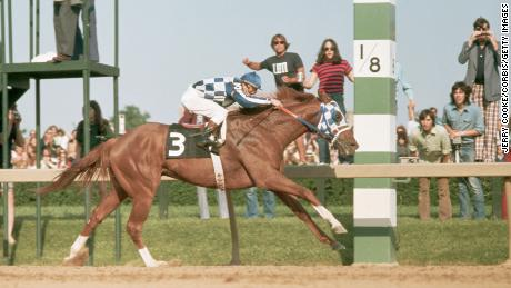 Secretariat crosses the finish line and wins the Preakness Stakes, the second leg of the Triple Crown, at the Pimlico Racetrack. The Triple Crown award consists of winning the Kentucky Derby, the Preakness Stakes, and the Belmont Stakes. Secretariat and Turcotte would go on to win the Belmont Stakes, becoming the first Triple Crown winner since Citation in 1948. (Photo by Jerry Cooke/Corbis via Getty Images)