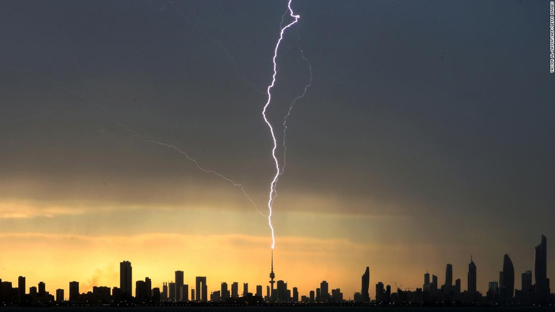 Lightning strikes the Liberation Tower in Kuwait City on Friday, April 5.