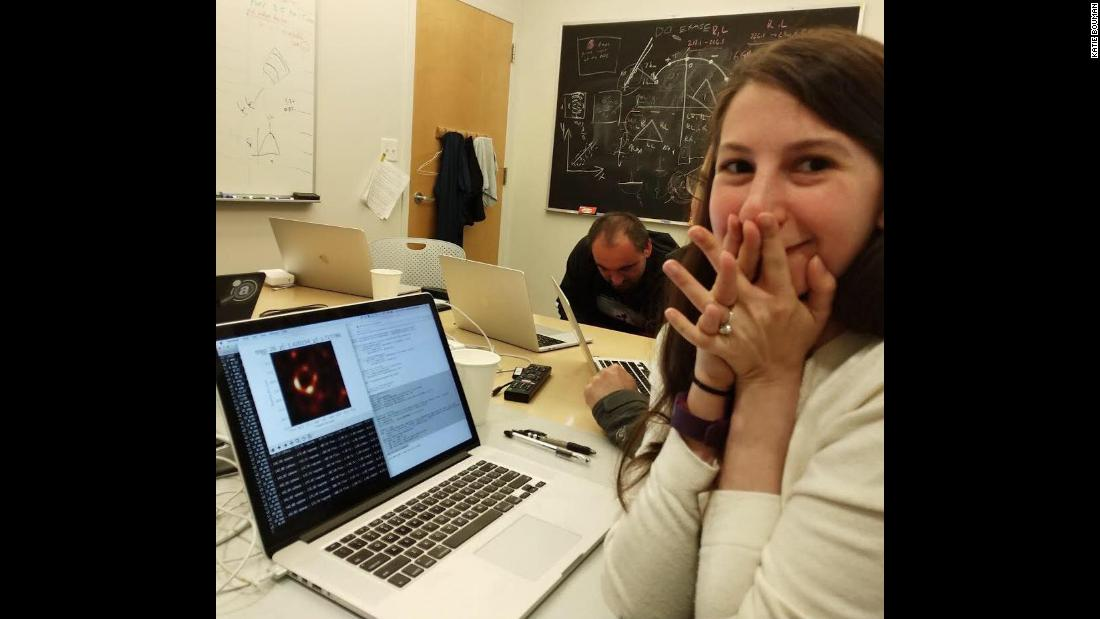"Katie Bouman, who developed a crucial algorithm to help create the first-ever image of a black hole, posted this photo of herself to Facebook on Wednesday, April 10. ""Watching in disbelief as the first image I ever made of a black hole was in the process of being reconstructed,"" she wrote."