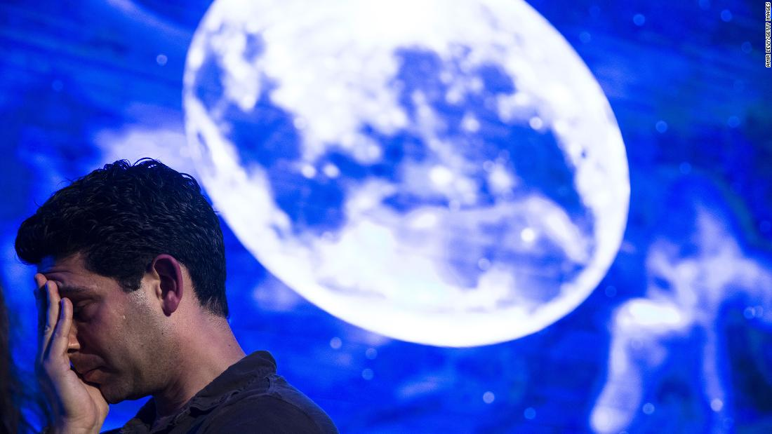 An Israeli man reacts after Beresheet spacecraft failed to land safely on the moon on Thursday, April 11 in Tel Aviv, Israel. The Israeli spacecraft - called Beresheet, which is a joint project between SpaceIL, a privately funded Israeli non-profit organisation, and Israel Aerospace Industries failed to land on the lunar surface after the apparent failure of its main engine.