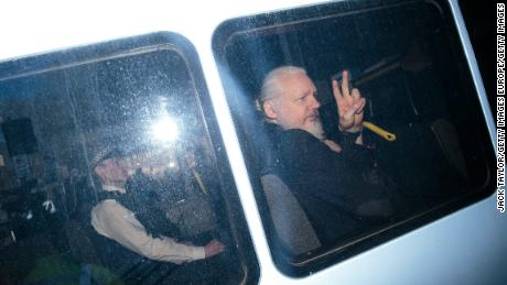Julian Assange arriving at Westminster Magistrates court on April 11.
