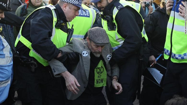 An Extinction Rebellion protester blocking Blackfriars Bridge, in London, November 2018.