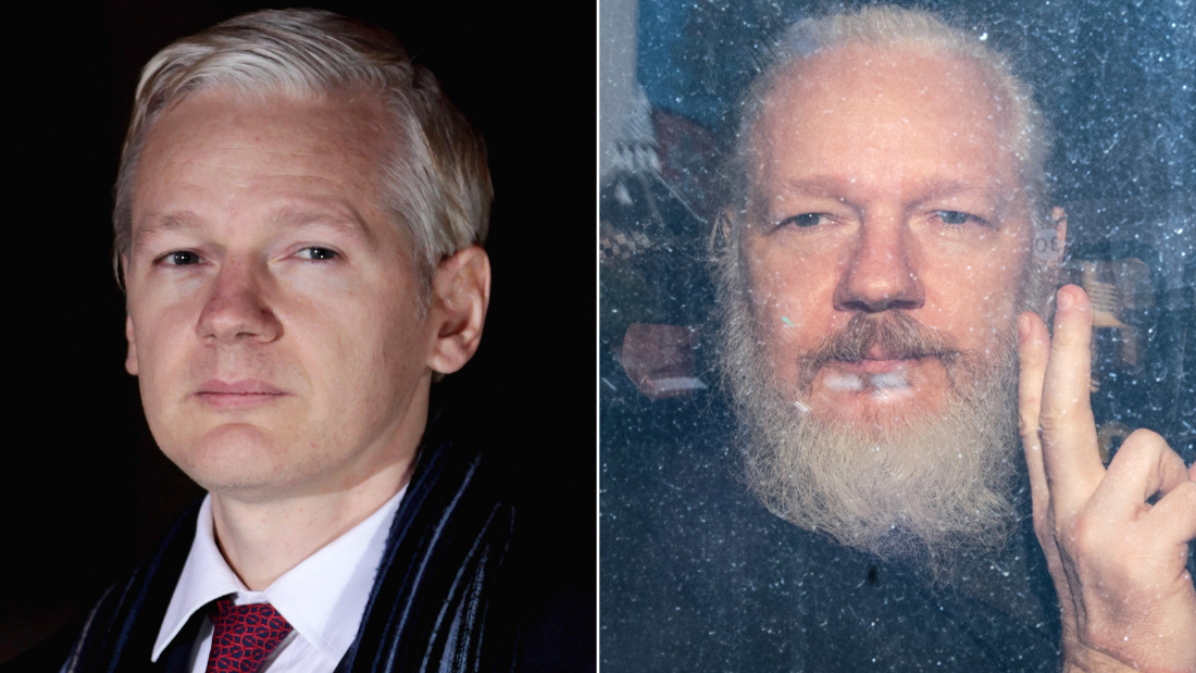 LEFT: WikiLeaks founder Julian Assange leaves Belmarsh Magistrates Court on February 8, 2011 in London, England. Assange was in court challenging a proposed extradition from the UK to Sweden on grounds of alleged sexual assault against two women. RIGHT: Julian Assange gestures to the media from a police vehicle on his arrival at Westminster Magistrates court on April 11, 2019. after his arrest and removal from the Ecuadorian embassy.