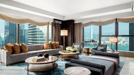 A suite at the St. Regis hotel in Hong Kong, where guests can contact butlers over messaging apps like WhatsApp and WeChat.
