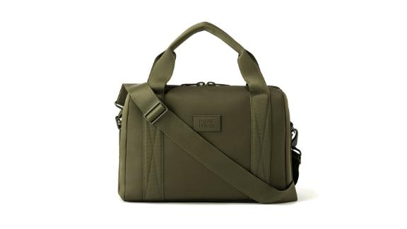 """<strong>Dagne Dover Weston Laptop Bag ($135; </strong><a href=""""http://redirect.viglink.com?type=bk&opt=false&u=https%3A%2F%2Fwww.dagnedover.com%2Fcollections%2Fweston-laptop-bag%23DarkMoss-Medium&key=ed7eb6546c416eb284920d7a87c6d8c4"""" target=""""_blank"""" target=""""_blank""""><strong>dagnedover.com</strong></a><strong>)</strong><br /><br />Another good find from Dagne Dover is this neoprene laptop bag that protects your laptop from its worst enemy: water. Again winning at organization, this bag has a laptop sleeve, interior mesh and zipper pockets, an exterior pocket for your phone or ID, and the signature Dagne Dover detachable key leash. <br />"""