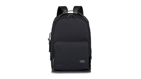 """<strong>Tumi Harrison Webster Backpack ($425; </strong><a href=""""https://click.linksynergy.com/deeplink?id=Fr/49/7rhGg&mid=1237&u1=0409workbags&murl=https%3A%2F%2Fshop.nordstrom.com%2Fs%2Ftumi-harrison-webster-backpack%2F4727485%3Forigin%3Dkeywordsearch-personalizedsort%26breadcrumb%3DHome%252FAll%2520Results%26color%3Dblack%2520nylon"""" target=""""_blank"""" target=""""_blank""""><strong>nordstrom.com</strong></a><strong>)</strong><br /><br />If you're looking for a sleek, all-around business backpack, the Harrison Webster bag from Tumi might just be the one for you. It's made of nylon and calfskin and has two compartments to fit a 15-inch laptop and a tablet, as well as lots of other pockets to keep you organized. It makes a great travel carry-on and easily slides over your luggage."""