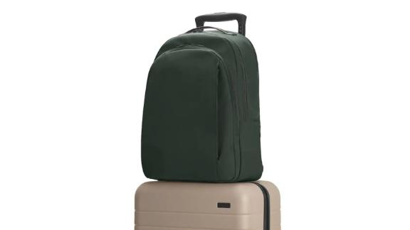 """<strong>Away The Backpack ($195; </strong><a href=""""http://redirect.viglink.com?type=bk&opt=false&u=https%3A%2F%2Fwww.awaytravel.com%2Ftravel-bags%2Fbackpack%2Fnavy-nylon&key=ed7eb6546c416eb284920d7a87c6d8c4"""" target=""""_blank"""" target=""""_blank""""><strong>awaytravel.com</strong></a><strong>)</strong><br /><br />Another great fuss-free backpack you can take to the office or on business trips is the Away backpack. It's thoughtfully organized with three roomy compartments to carry all your essentials. It fits laptops up to 15 inches and has a hidden zipper pocket on the back of the bag that perfectly fits a passport."""