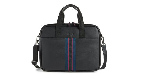 """<strong>Ted Baker London Faux Leather Document Bag ($109; </strong><a href=""""https://click.linksynergy.com/deeplink?id=Fr/49/7rhGg&mid=1237&u1=0409workbags&murl=https%3A%2F%2Fshop.nordstrom.com%2Fs%2Fted-baker-london-faux-leather-document-bag%2F5226207%3Forigin%3Dkeywordsearch-personalizedsort%26breadcrumb%3DHome%252FAll%2520Results%26color%3Dblack"""" target=""""_blank"""" target=""""_blank""""><strong>nordstrom.com</strong></a><strong>)</strong><br /><br />Business bags don't have to be boring. Make a style statement with this Ted Baker London document bag that's got a cool pop of color. <br />"""