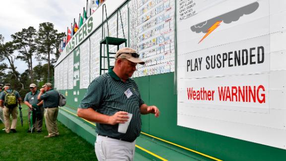 Play was suspended for a while because of the threat of thunderstorms in the Augusta area.