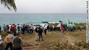 People gathered at the extraction site.