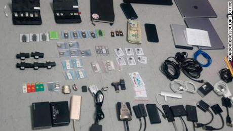 Ecuador's prosecutor's office shared images of the items confiscated after a a search was carried out at the home of a Swedish citizen.