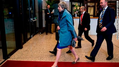 British Prime Minister Theresa May leaving a European Council meeting on Brexit at The European Parliament in Brussels on April 11.