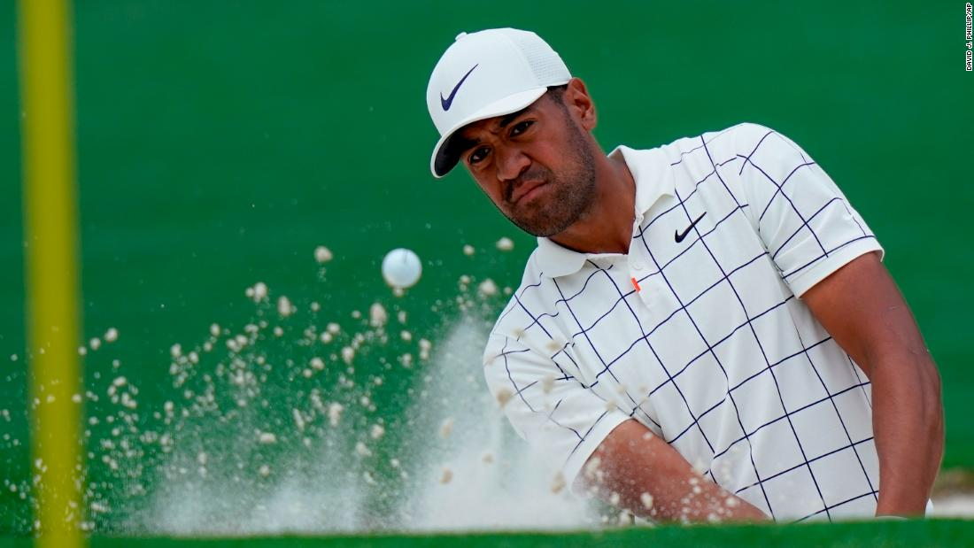 American Tony Finau sat alongside Woods. Finau dislocated his ankle in the par-3 contest ahead of his debut in last year's Masters.
