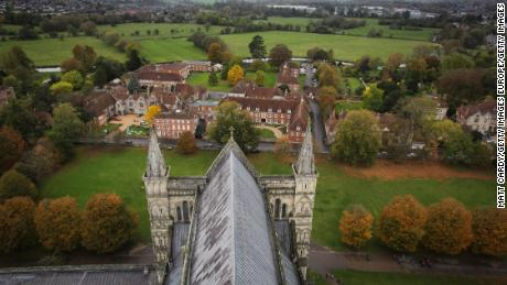 Salisbury, seen from the spire of the city's cathedral.