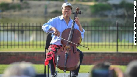 Cellist Yo-Yo Ma at the Texas border