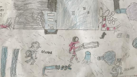 Ten-year-old Faizal took part in an activity at a Child Friendly Space in a camp in Beira, Mozambique. He draw his home before and after Cyclone Idai hit his community. This picture depicts his home after the cyclone.