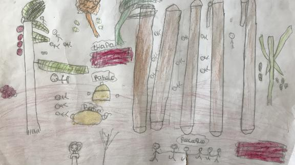 Eleven-year-old Ines drew what her home looked like after the cyclone.