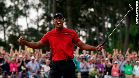 60233c76 Tiger Woods reacts as he wins the Masters golf tournament Sunday, April 14,  2019
