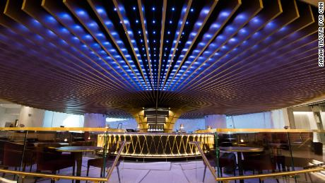 The futuristic-looking hotel bar takes center-stage on the hotel's ground level floor.