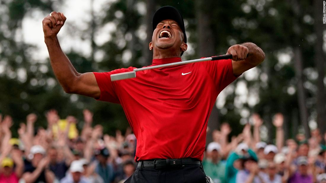 Tiger Woods reacts as he wins the 2019 Masters golf tournament on Sunday, April 14 in Augusta.