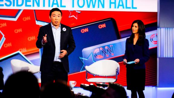 Yang talks to audience members in Washington during a CNN town hall moderated by Ana Cabrera in April 2019.