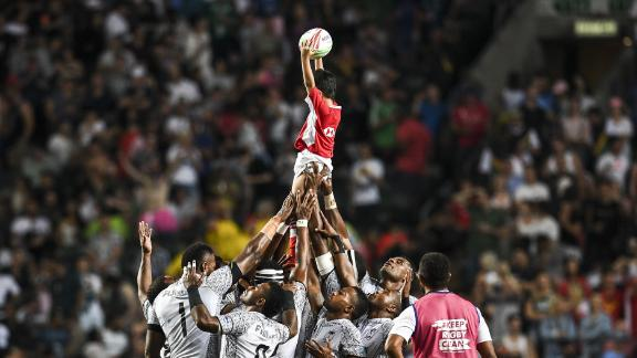 Fiji proved that its love for the Hong Kong Sevens -- the series' showpiece tournament -- is as strong as ever. The Pacific Islanders defeated France to win the title for the fifth straight time. The players are pictured lifting a ball boy in the air before the start of the final.