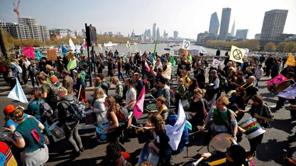 Extinction Rebellion protesters block Waterloo Bridge.