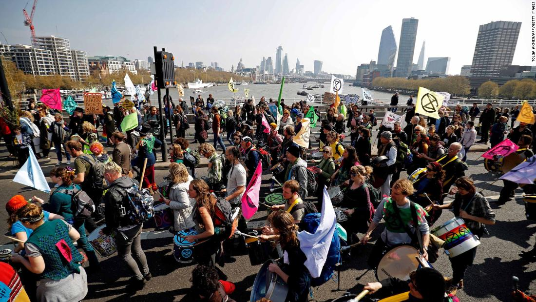 Members of the Extinction Rebellion group stage a demonstration on Waterloo Bridge.