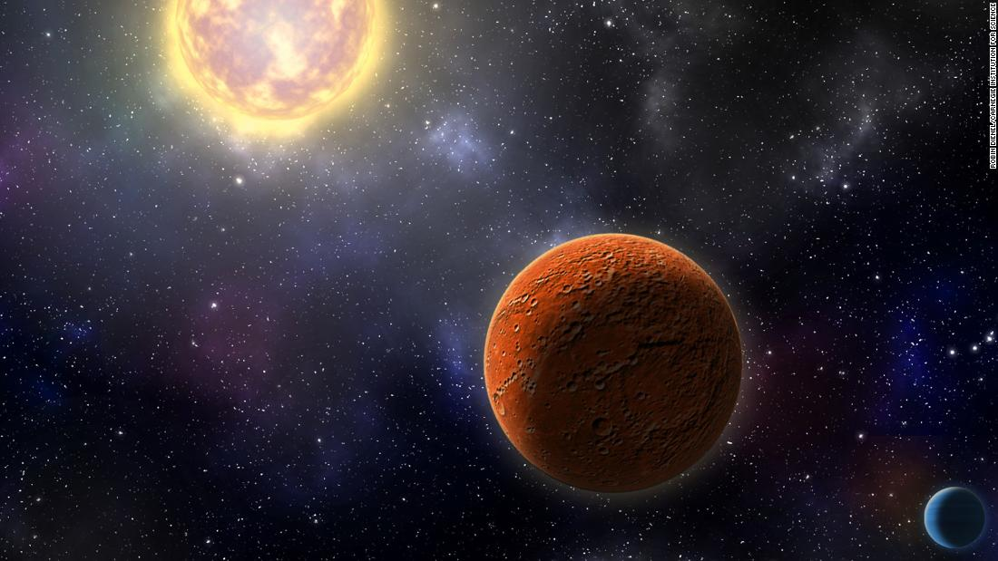 An artist's illustration of HD 21749c, the first Earth-size planet found by TESS, as well as its sibling, HD 21749b, a warm mini-Neptune.