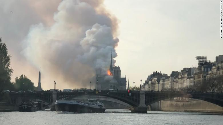 Smoke billowed up from the Notre Dame cathedral on Monday in Paris, France.