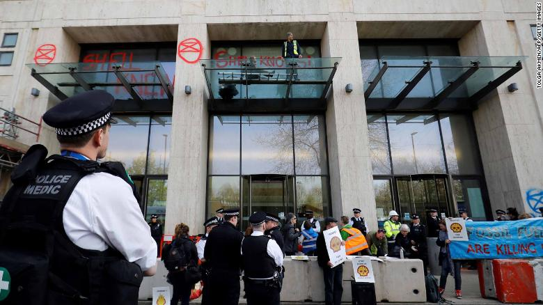 Demonstrators surround London's Shell Centre.
