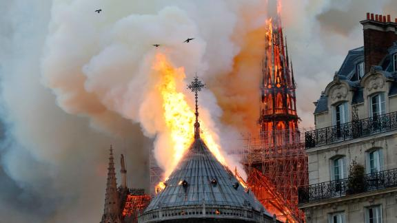 The cathedral was undergoing renovation work, the fire service said.