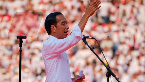 Indonesian President Joko Widodo, popularly known as Jokowi, gives a speech to supporters at a rally at Jakarta