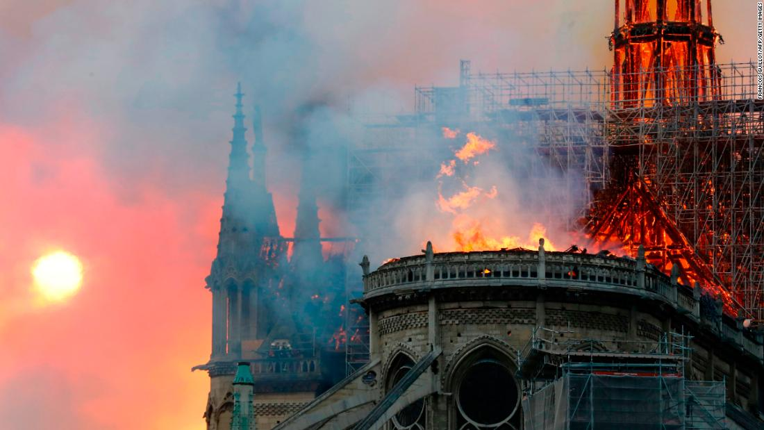 The roof of the cathedral burns.