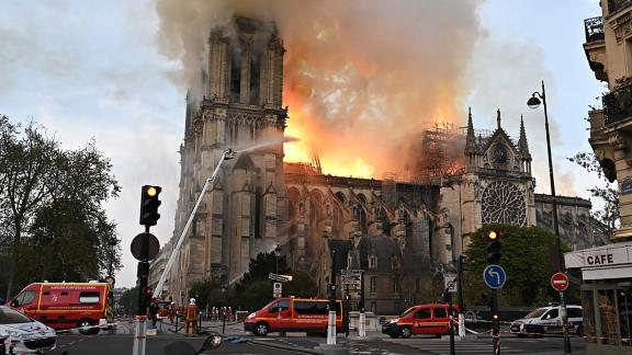 PARIS, FRANCE - APRIL 15, 2019: Notre-Dame de Paris, a Catholic cathedral founded in the 11th century, has caught fire. Best quality available. Stoyan Vassev/TASS (Photo by Stoyan Vassev\TASS via Getty Images)