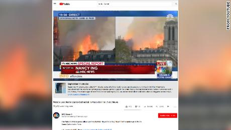 YouTube mistakenly put links to information about 9-11 underneath videos of the Notre Dame fire.