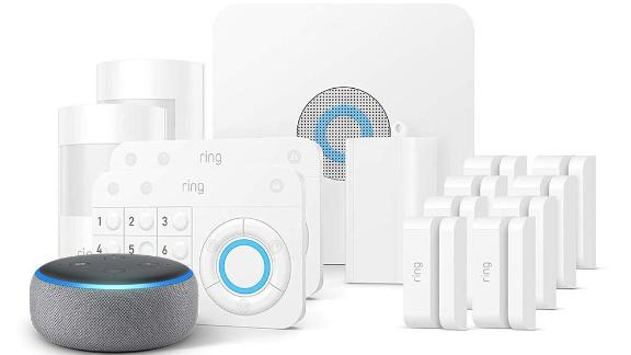 """<a href=""""https://amzn.to/2XdbXnV"""" target=""""_blank"""" target=""""_blank""""><strong>Ring Alarm 14-Piece Kit with Echo Dot ($279.00, originally $468.92; amazon.com)</strong></a>"""