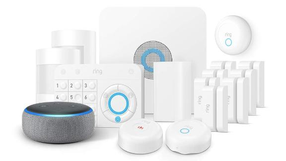 """<a href=""""https://amzn.to/2UIjS01"""" target=""""_blank"""" target=""""_blank""""><strong>Ring Alarm 15-Piece Kit with Echo Dot ($304.00, originally $359.00; amazon.com)</strong></a>"""